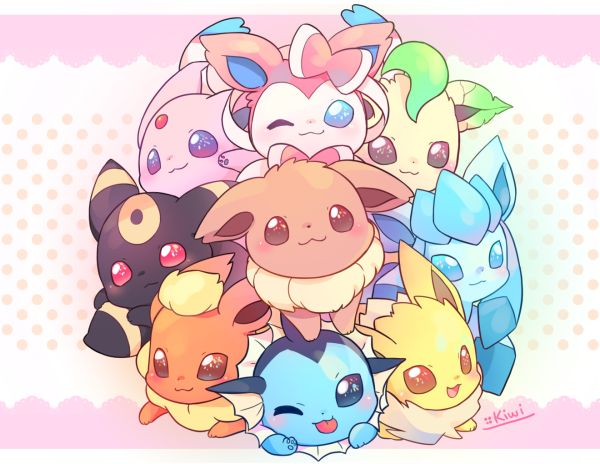 OMG CHIBI EEVEELUTIONS THEY ARE SO CUTE WHAT IF YOU SAW THEM ON THE SIDE OF THE STREET U WOULD KEEP THEM NO QUESTIONS ASKED!!!! Kawaii  overload. :3 ~Eevee Lover