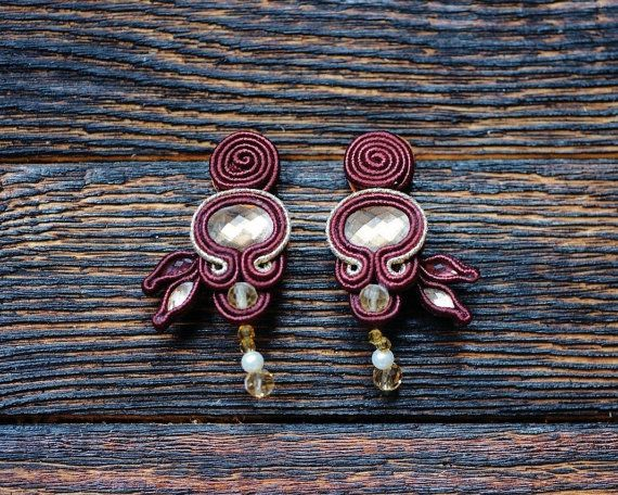 Burgundy soutache statement earrings with peach by NagualArt