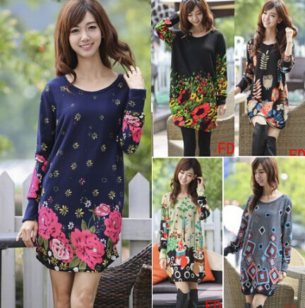 new 2016 Women's autumn spring  plus size flower print long-sleeve pullover casual dress dresses tops 3XL  big