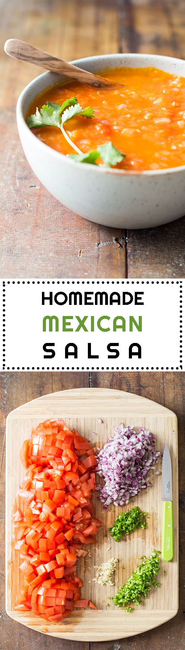 An authentic and healthy HOMEMADE MEXICAN SALSA recipe to dip in your corn tortilla chips, spice up your tacos or use as a base for your huevos rancheros.