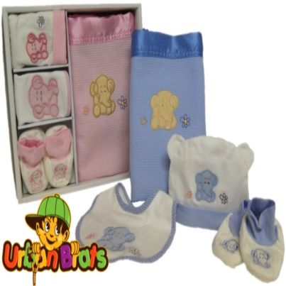 ** Baby 4 Piece Gift Set with Elephant Appliqué ** $24.95 each plus postage in Australia only Here is a gorgeous gift set available in Pink or Blue. Set consists of; Satin trimmed Waffle Blanket,  size approx 110 cm x 80 cm Bib, Beanie and Booties All appliquéd with a beautiful Elephant design!
