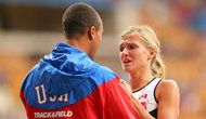 Ashton Eaton, left, with his wife, Brianne Theisen-Eaton, after she won a silver medal in the heptathlon in August at the 2013 World Championships in Moscow.