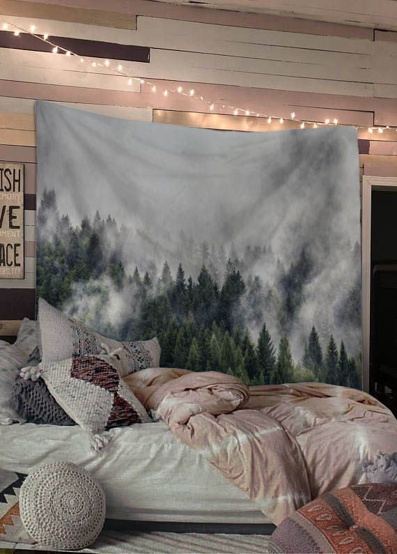 Mist Forest Mountain Wall Tapestry Nature Wall Tapestry Aesthetic Bedroom Wall Tapestry Bedroom #wall #tapestry #for #living #room