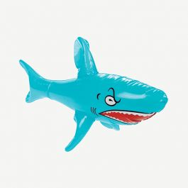 Instantly add a bite of fun to your luau or pool party!  The blue Inflatable Shark features a menacing tooth-filled grin and makes for a fun summer party decoration or as a pool toy for kids young and old.  The plastic inflatable shark measures 23 inches long #summer #inflatable #shark