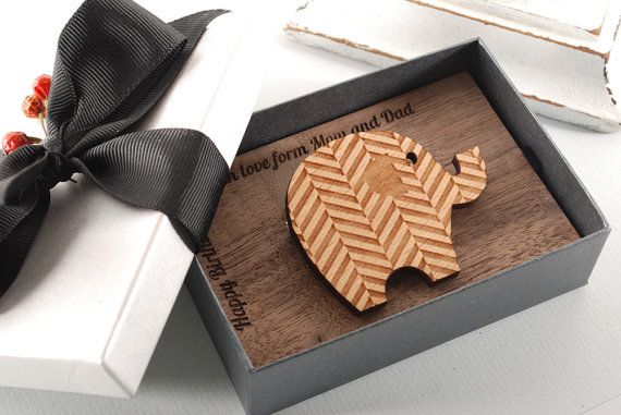 TWEEDY ELEPHANT  BROOCH  ready to give gift box by MoodForWood