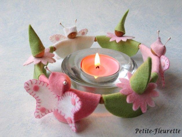 Frühling - Teelichtreigen *Aprilblüte* - ein Designerstück von Petite-Fleurette bei DaWanda