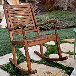 WE Furniture Solid Acacia Wood Rocking Patio Chair – Dark Brown