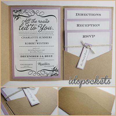 KRAFT WEDDING INVITATIONS DIY POCKETFOLD ENVELOPES BOX VINTAGE BROWN INVITE  They only do the envelopes not the printing but LOVE LOVE LOVE the finished invite