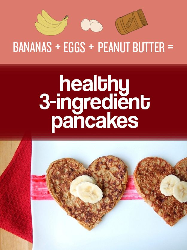 Bananas, eggs, and peanut butter are all you need to make healthy, gluten-free pancakes. | 27 Easy Ways To Eat Healthier