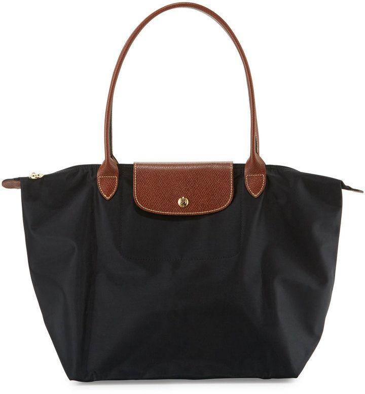 Longchamp Le Pliage Large Monogramm Shoulder Tote Bag, Black