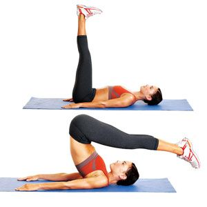 Love this move! I call it the anti-crunch, it's effective and fun. Getting/Maintaining a flat belly is easy with this one just do 8-10 reps each time you are laying down and think of it.     Pin links to other Pilates moves from Women's Health. Click through if interested.