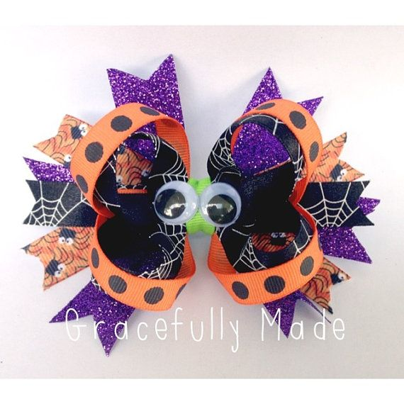 Halloween Bow - Halloween Headband - Black and Orange Bow - Googly Eyes on Etsy, $7.50