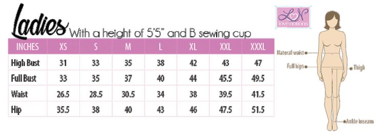 All Love Notions patterns closely follow the ASTM Standards for Body Measurements. Ladies patterns are drafted for the average 5'5″ height and B sewing cup. Did you know that sewing cup sizing and bra cup sizing are totally different? Pattern cup size is based on the difference between your high bust and full bust. To get a better fit, especially in knits, go by your high bust measurement. This way the neckline and shouldersare more likely to fit better and not need adjustment.