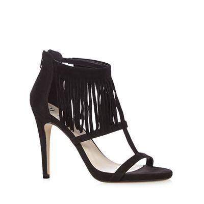 Nine by Savannah Miller Black 'Sarah' heeled sandals with fringe detail- at Debenhams.com