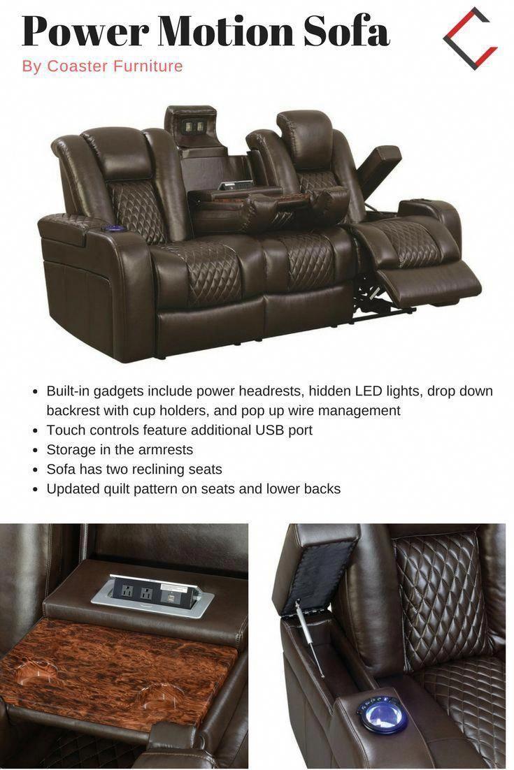 Coaster Furniture Delangelo Brown Power Motion Sofa #Coasterfurniture