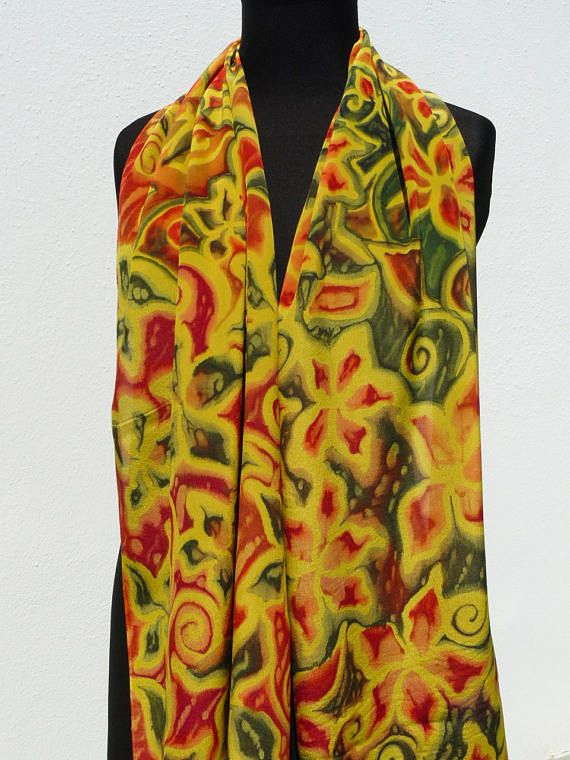 Silk scarf gold red dark green Hand painted Crepe de chine
