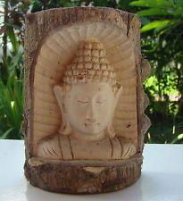 Buddha Kopf Krokodilholz im Holzstamm Feng Shui Dekoration Holzfigur Skulptur