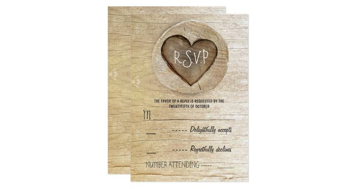 Vintage rustic country wedding reply cards with carved tree wooden heart