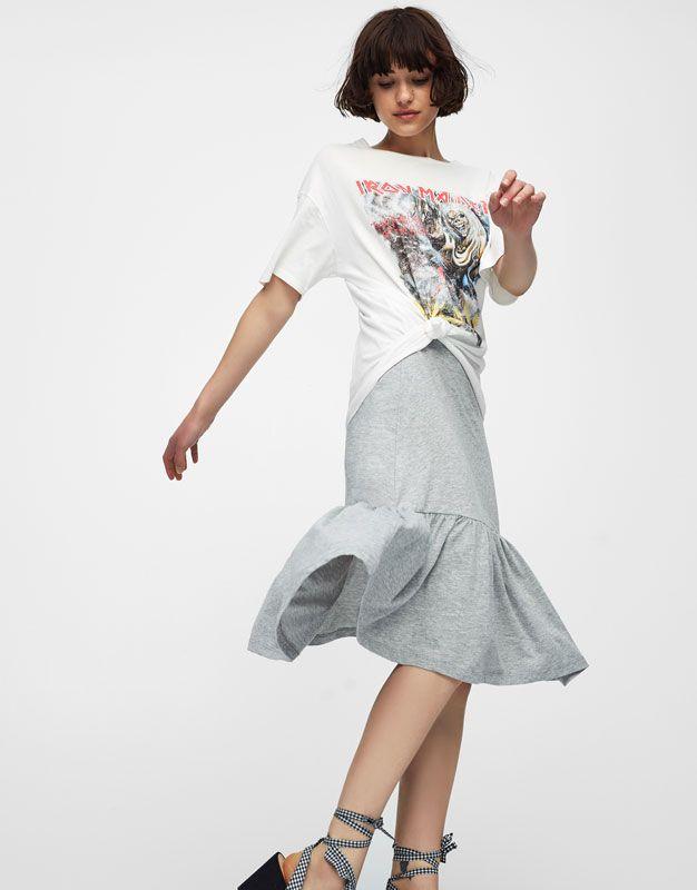 :Midi skirt with ruffled hem