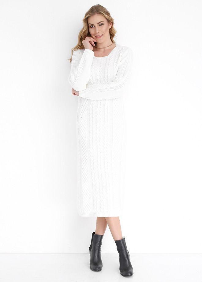 Braided-knit Long Knitwear Dress