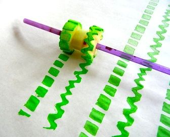 Printing Wheel made with a potato and a straw. Just dip and roll/twist...