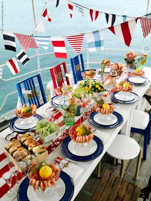 summer party table: red,white, and blue