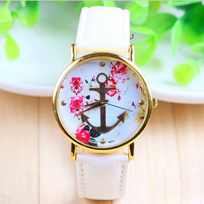Flowers anchor leather teen sailor watch