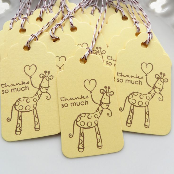 Giraffe Party Tags Thanks So Much Tags - Set of 25 - READY TO SHIP