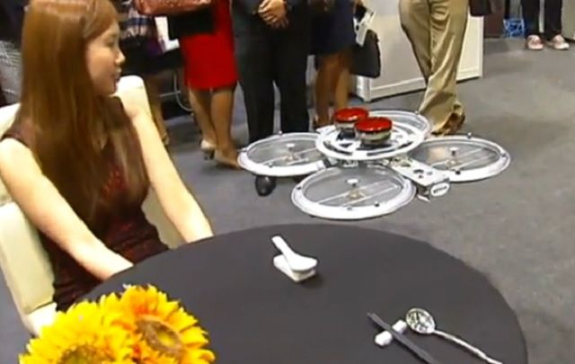 Flying drones to replace waiters? Autonomous restaurant drones transport food from kitchen to table  Learn more: http://www.naturalnews.com/047814_restaurant_drones_food_delivery_displaced_workers.html#ixzz3KTxZ628L