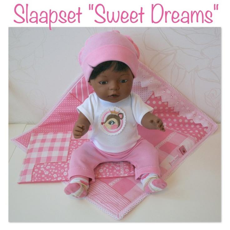 *NIEUW* Slaapset Sweet Dreams (compleet!) | *POPPENKLEDING* voor ca. 43cm (o.a. BabyBorn) | Astrids Atelier Poppenkleding