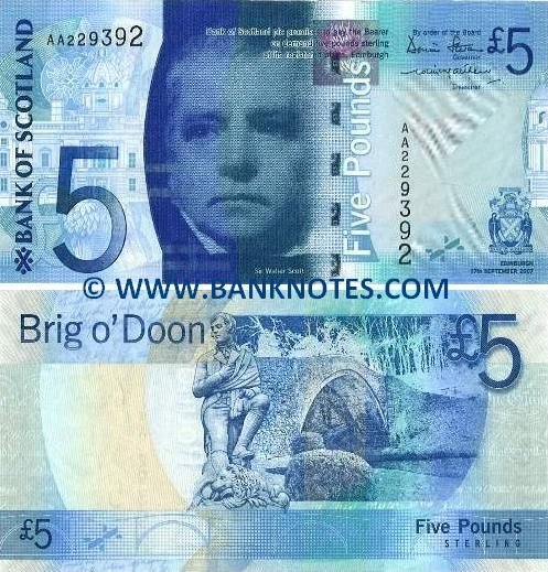 Scotland 5 Five Pounds 2007 • Front: Sir Walter Scott; Back: Brig o'Doon; Watermark: Unknown.