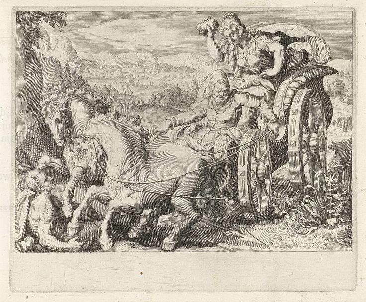Zacharias Dolendo   Beronica oefent wraak met een steen, Zacharias Dolendo, Jacob de Gheyn (II), 1606   Beronica wreekt haar vermoorde zoon door zijn moordenaars te slaan met een steen. Beronica zit in een koets die bestuurd wordt door Caeneus, een van de moordenaars. De bestuurder raakt de teugels kwijt en de paarden rennen over een man met duivelsoren, de tweede moordenaar van haar zoon. Bladzijde uit een boek met tekst op het verso.