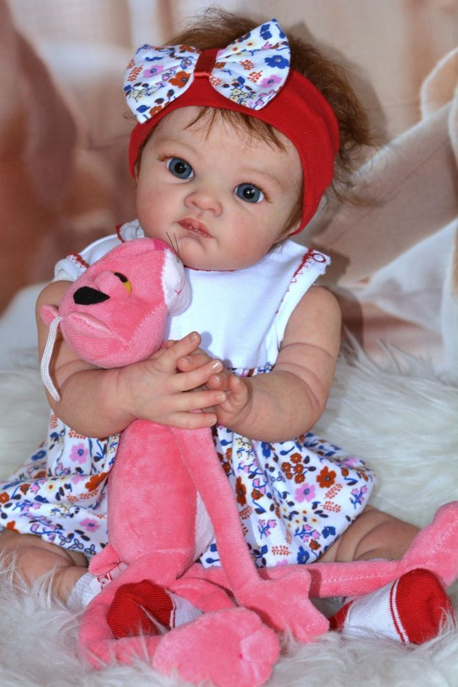 Reborn baby doll Poppet made from Limited out kit Poppet by Adrie Stoete.