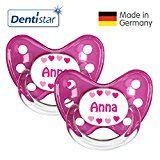 Dentistar® 2er Set Silikon-Schnuller - Größe 3 ab 14 Monate - Nuckel zahnfreundlich & weich für Babys ab dem ersten Backenzahn, Rosa Anna