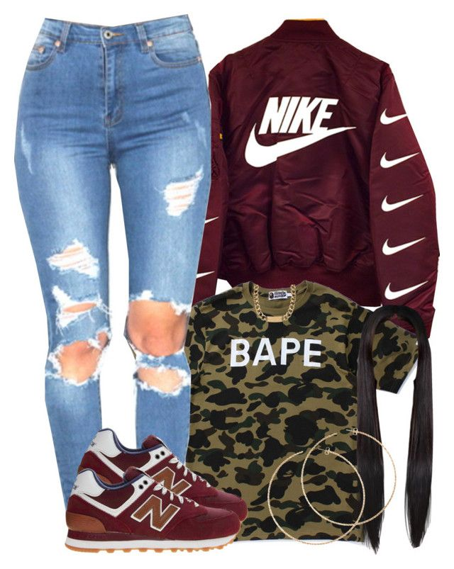 """""""1/29/16"""" by yasnikki ❤ liked on Polyvore featuring A BATHING APE, New Balance, House of Harlow 1960 and H&M"""