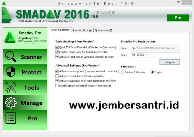 Smadav Pro Rev 10.9 Full Free Serial Number Key Terbaru Agustus 2016