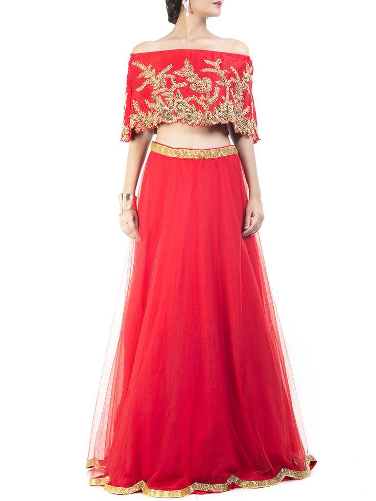 Striking Red Embroidered Cape Lehenga #Ekatrra #Dress #Stepintoawesome…