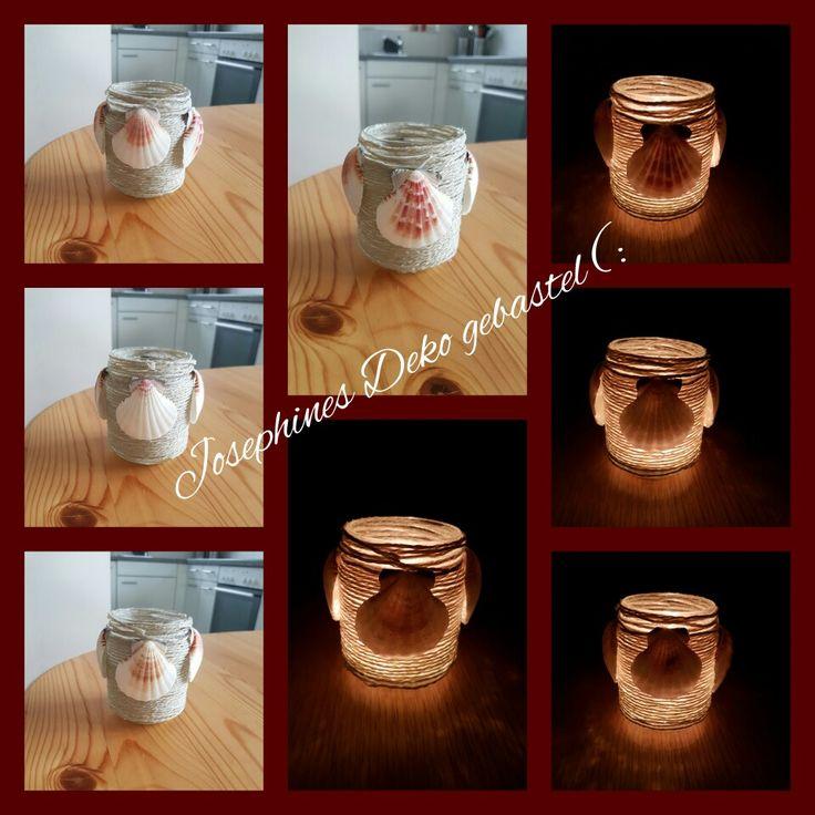Glas mit Schnur, Muscheln und Teelich :)