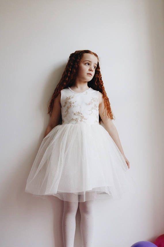 Ivoire & or anniversaire robe princesse fille de fleur en
