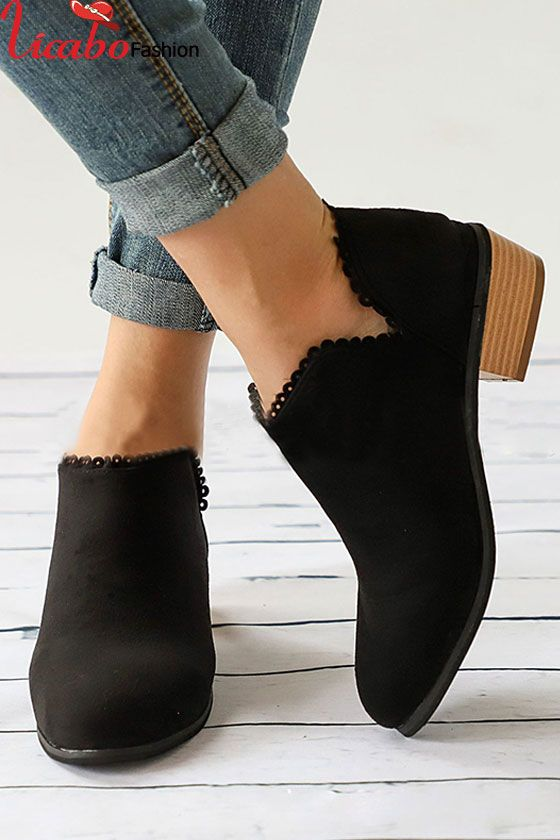 Womens Ladies Flat Ankle Boots Low Heel