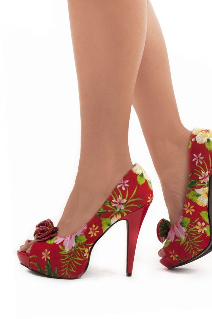 Pinup Couture - Lolita plateau pump Hawai Flower red