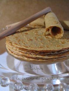 J'en reprendrai bien un bout...: Crêpes légères à la farine de pois chiche & lait d'amande (sans gluten ni lactose)