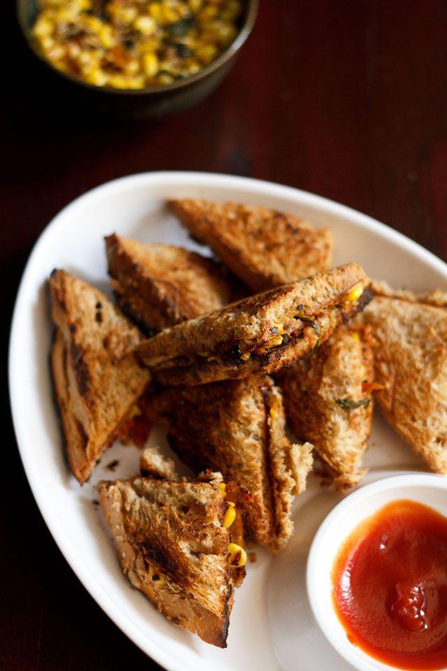 corn sandwich -  easy toast sandwiches made with sweet corn. italian inspired. vegan recipe.  #corn #sandwich #vegan #easyrecipes