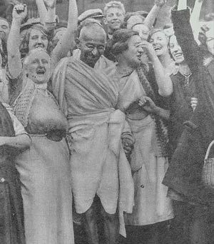 Ghandi was a strong believer in peaceful protest. A peaceful protest is a non violent resistance in which people unite and try to achieve socio-political goals through symbolic acts. Gahndi and his followers led a non-cooperation movement in the 1920's that called all Indians to boycott British goods, they became self-reliant and did things that the British previously did by themselves.