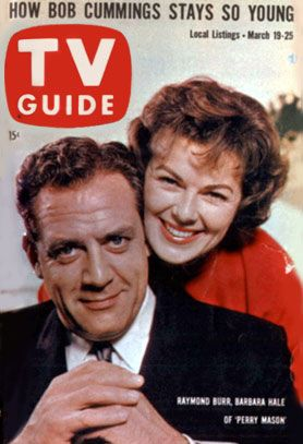 "Barbara Hale and Raymond Burr of ""Perry Mason"" on TV Guide Cover of March 19, 1960."