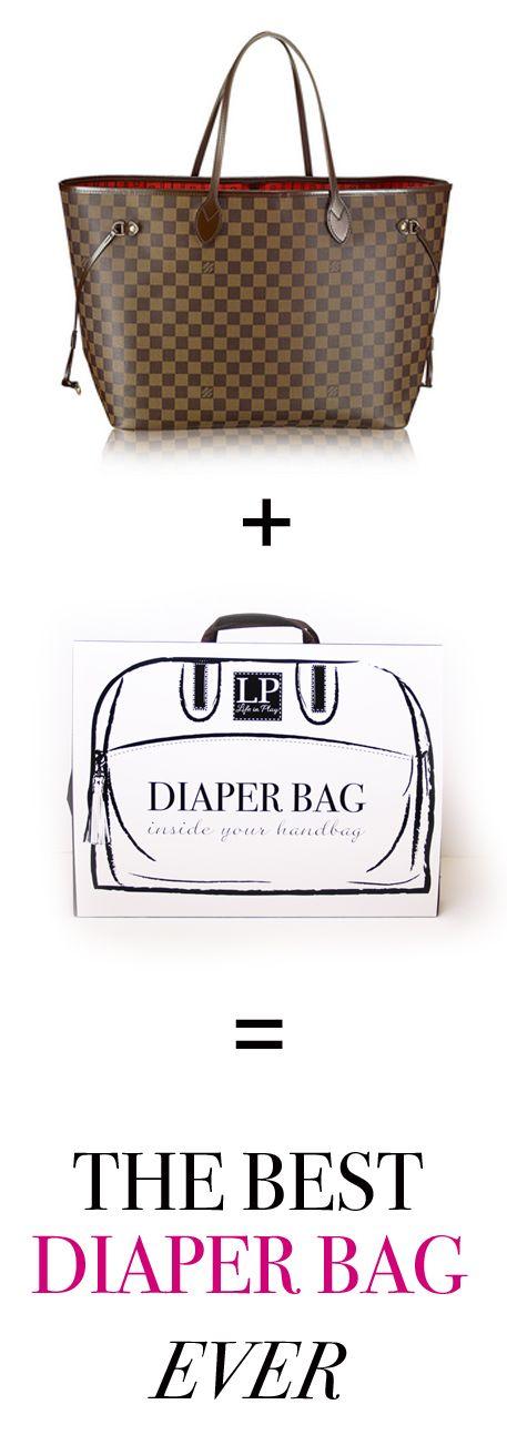 LV neverfull tote + LP handbag organizer = one stylish diaper bag!