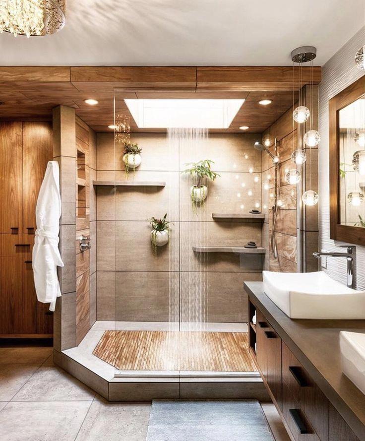 Halten Sie sich mit der Natur in dieser Dusche auf. #Lux #bath #shower #bad #nature #naturalshowers #ModernHomeDecorB bathroom