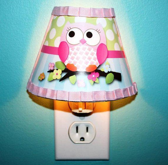 Owls Love Birdies Girl Nature Wooden NIGHT LIGHT by ToadAndLily, $25.00