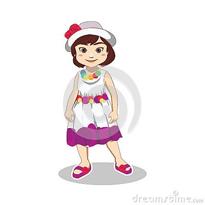 Illustration of cute little girl wearing dress, hat and slipper in summer vacation