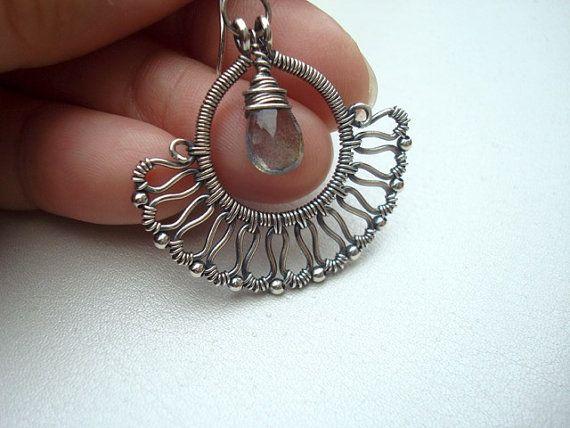 Wire Wrapped Jewelry  Grey Earrings  Labradorite Earrings